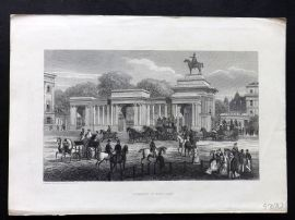 Cassell's Old and New London C1878 Print. Entrance to Hyde Park
